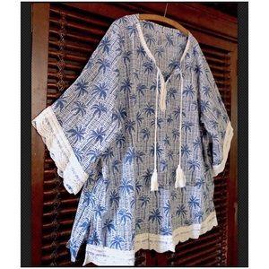 3X $78 Palm Print Crochet Tunic Top Peasan…